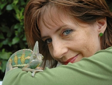 Ali Sparkes with chameleon