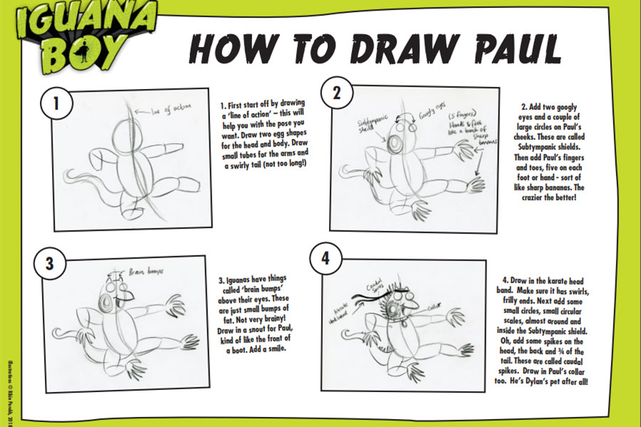 Draw Dylan's pet iguana Paul in easy to follow stages